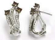 1.45 Ctw Natural Brown And White Diamond 14k White Gold Omega Back Flame Earrings