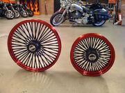 Dna Candy Red Mammoth Fat 52 Spoke Wheels 18x3.5 And 18x8.5 250 Tire Harley