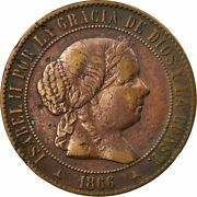 [531722] Coin Spain Isabel Ii 5 Centimos 1866 Madrid Ef40-45 Copper