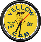 Yellow Cab Taxi Driver In Uniform Hat Retro Vintage Fast Service Sign Wall Clock
