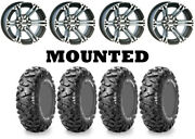 Kit 4 Maxxis Bighorn Radial Tires 25x8-12/25x10-12 On Itp Ss212 Machined Can