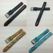 12mm Snakeskin Genuine Leather Watch Band Fits For Philip Stein 10mm Fit Size