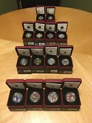 Birds Of Canada 2007-2014 Complete Set Of 14 Oversized 25c Coloured Coins +coaand039s