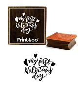 Printtoo My First Valentines Day Text Design Card Square Wooden Stamp-prb-939