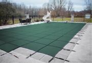 Loop Loc Green Mesh Rectangle Swimming Pool Safety Covers W/ Center End Step