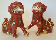 Herend Hungary Porcelain Figurine Hand Painted Foo Dog Pair - Reserve Collection