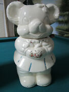 Vintage American Bisque Turnabout Bear Cookie Jar Two Sided Boyandgirl12 Tall