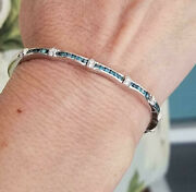 0.7 Ctw Natural Blue And White Diamond 14k White Gold Channel Oval Bangle Bracelet