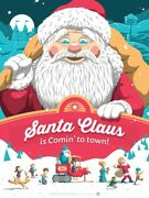 Santa Claus Is Coming To Town Florey - 18″x24″ Licensed Screen Print