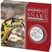 Australian Lunar Series Ii 2013 Year Of The Snake 1oz Silver Proof High Relief C