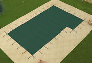 Loop Loc Green Mesh Rectangle Swimming Pool Safety Covers W/ Left Flush Step