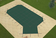 Loop Loc Grecian Green Mesh Swimming Pool Safety Covers W/ Left Offset Step