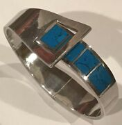 Vtg Taxco Mexico Turquoise Inlay Hinge Bangle Bracelet 950 Sterling Silver D2