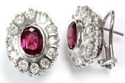 4 Ctw Natural Pink Tourmaline And Diamond Solid 14k White Gold Omega Back Earrings