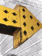 Vintage Big Yellow Arrow Sign 2-sided Hotel 10' Long X 80 Tall Electric Lighted