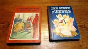 2 Vintage Books Childrens Book Of Bible Stories Story Of Jesus 1942 1945 Illus
