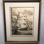 1979 Alan Jay Gaines Signed Etching Flying Cloud Yankee Clipper Ship 23 X 26