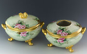 Limes Antiques Hand Painted Roses Gold Footed Powder Jar Box Hair Receiver