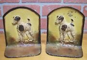 Old Cast Iron Terrier Bookends Figural Wire Fox Dog Book Ends Old Paint