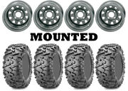 Kit 4 Maxxis Bighorn 2.0 Tires 28x10-12 On Itp Delta Steel Silver Wheels Act