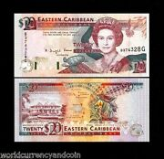 East Caribbean States Grenada 20 Dollars P28g 1993 Queen Turtle Ship Unc Uk Note