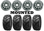 Kit 4 Interco Reptile Tires 28x10-12 On Itp Delta Steel Silver Wheels Can