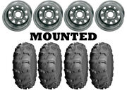 Kit 4 Itp Mud Lite Xl Tires 27x9-12/27x12-12 On Itp Delta Steel Silver Can