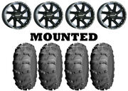 Kit 4 Itp Mud Lite Xl Tires 27x10-14/27x12-14 On Raceline Twist Black Wheels Vik