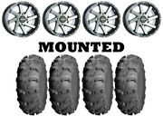 Kit 4 Itp Mud Lite Xl Tires 27x10-14 On Raceline Twist Machined Wheels Pol