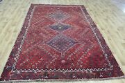 Antique Persian Shiraz Qashqai Rug With Great Design 9 X 6 Ft Hand Knotted Rug