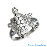 Turtle Tortoise Movable 925 Sterling Silver Ring Size 6 7 8 9 Head Limbs Move
