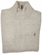 Polo Mens Knit Ribbed Trim Pullover Sweater Oatmeal Xl