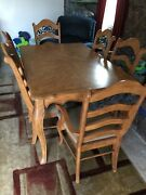 Antique Pine 7 Piece Dining Room Set With Display Cabinet And Buffet Table