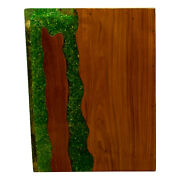 Green Resin Lucite And Teak Root Wood End Side Night Stand Table Rsnnsgrn-08