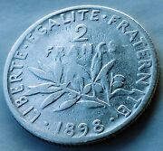 2 Francs 1898. France Silver 08350 Coin Figure Left Sowing Seed La Semeuse