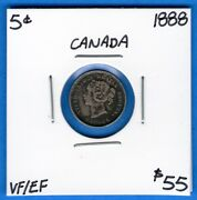 Canada 1888 5 Cents Five Cent Small Silver Coin - Vf/ef Nicely Toned