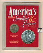 America's 1979's Smallest Dollar And1988's Largest Silver Dollar Coins Set Ooak