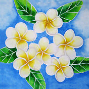 Plumeria Flowers Fabric Quilt Square White Yellow Tropical Hawaii Panel Paradise