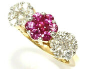 1.5 Ct Natural Pink Sapphire Diamond Solid 14k Yellow Gold 3 Flower Cluster Ring