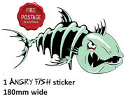 1 Right Facing Awesome Angry Skeleton Fish Boat Car Sticker Vinyl Decal 18 Cm