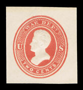 Genuine Scott Uo47 War Dept Official Mint Large Cut Square 1875 Red On White