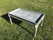 Antique Primitive Early 1900s Zinc Lined Butcher Shop Farm Table W/ Lid And Drawer