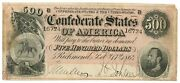 February 17, 1864 500 Confederate States Of America T-64 Seventh Issue 16724