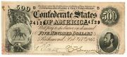 February 17, 1864 500 Confederate States Of America T-64 Seventh Issue 24129