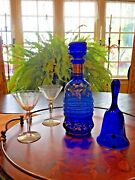 Vintage Cobalt Blue Glass Bell And Decanter - 2 Pieces