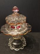 Old Northwood Mold Cherry And Cable Glass Pattern Butter Dish And Stand Rare 10 1/