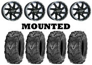 Kit 4 Itp Mud Lite Ii 2 Tires 27x9-14 On Raceline Twist Black Wheels Vik
