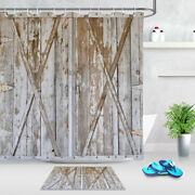 Rustic Distressed Wood Barn Door Panels Polyester Fabric Shower Curtain Liner