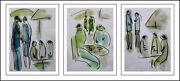 Girls And Boys Modern Art Contemporary Oil Painting On Paper Triptych