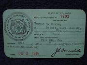 1914 Pope Mfg Co Motorcycle 2666 Wisconsin/wi Registration Card Motor Cycle 7hp